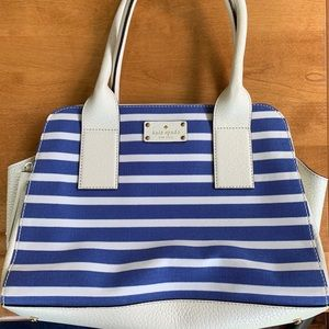Kate Spade Blue & White Striped Purse